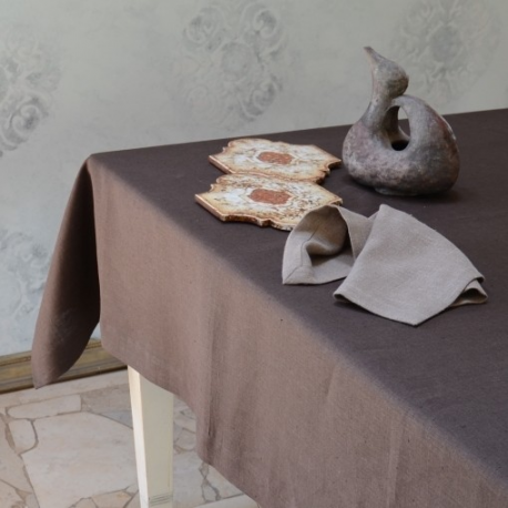 Linen tablecloth - chocolate