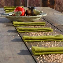 Linen tablecloth - sunny green