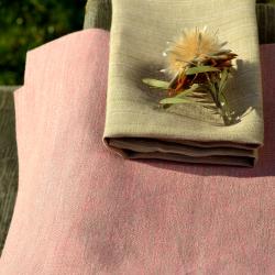 Różowy melanż - lniany obrus