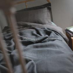 Linen bedcover - graphite