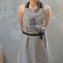 Linen apron with fly