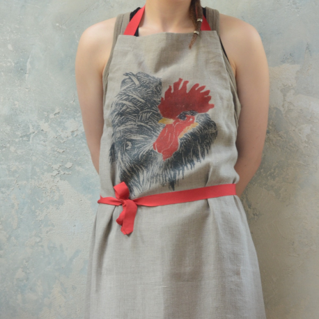 Linen apron with rooster