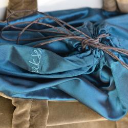 Velvet bag - brown/blue