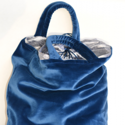 Velvet bag - blue/gray