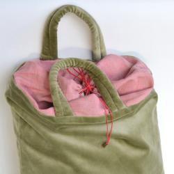 Velvet bag - green/pink